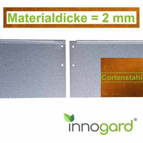 18+25 cm Rasenkante Beetumrandung Beeteinfassung Corten Materialdicke = 2 mm H