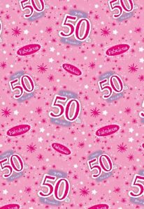Image Is Loading 2 Sheets Gift Wrapping Paper HAPPY 50th BIRTHDAY