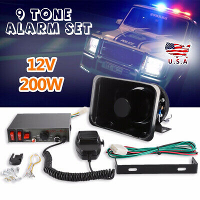 200W 9 Sound Car Warning Alarm Loud Police Fire Siren Horn PA Speaker MIC System