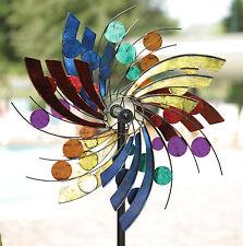 New Garden Wind Spinner Yard Decor Windmill Kinetic Sculpture Outdoor Metal Art