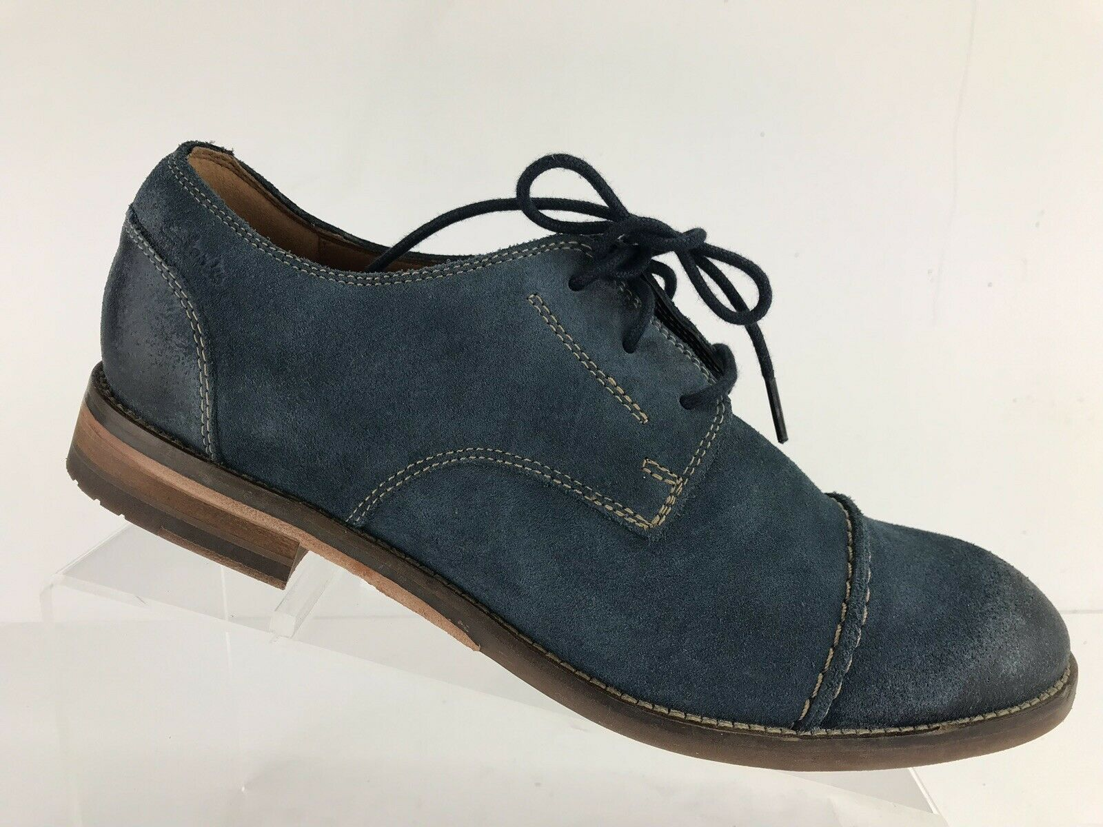 Clarks 1825 bluee Cap Toe Leather Oxford Dress Casual Style 16501 Men's 8.5 M