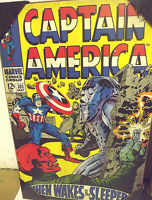 CAPTAIN AMERICA  WOODEN WALL ART PLAQUE MARVEL COMICS 13X19 NEW 101 MAY