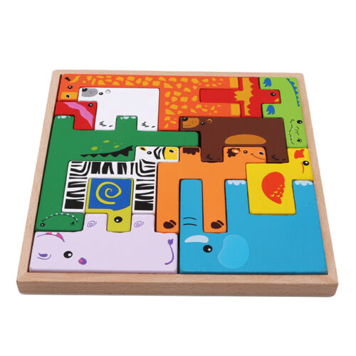 Educational Animal Wooden Building Block Puzzle Brain Teaser Learning Toys L