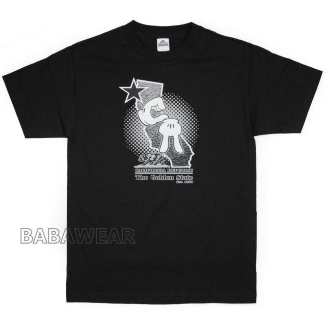 California T-Shirt Black Silver CALI Star Mickey Glove Hand Sign CA Map EVE3