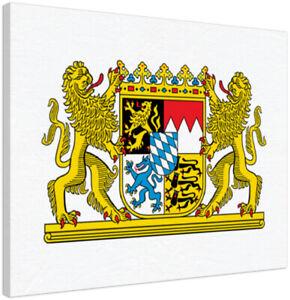 Leinwandbild BAYERN Staatswappen 30 x 20 cm Wappen Freistaat Leinwand Bild NEU