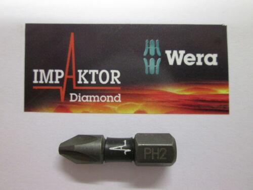 WERA IMPAKTOR PH2 25mm Diamond Impact Screw Driver Bits Highest Quality Dry Wall