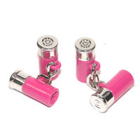 Silver & Pink SHOTGUN CARTRIDGE Clay Pigeon Shooting CUFFLINKS Gift Box