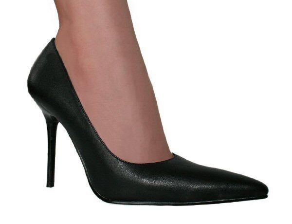 Men's Black PU Slinky Stiletto Heel Court Shoes