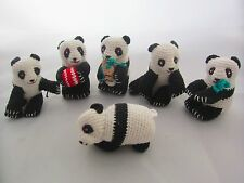 6 Vintage Pandas Crocheted Knitted Panda Soft Toys in Various Poses Retro 1970's