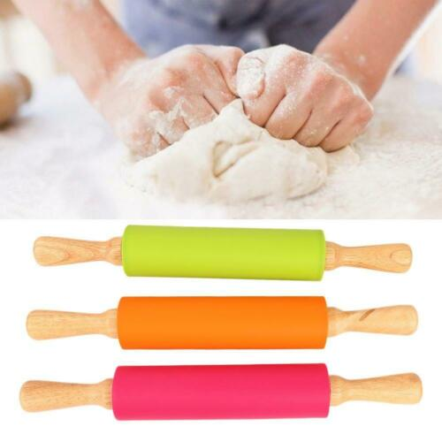Silicone Rolling Pin Non Stick Pastry Baking Tool Dough Roller Wooden Handle