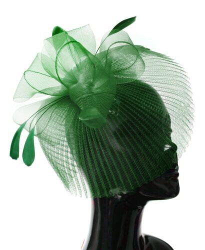Veil Fan Feathers Fascinator on Headband Wedding Races Net Hat Big