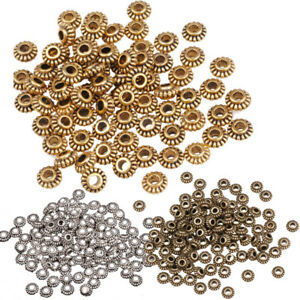 Wholesale-DIY-100Pcs-Tibetan-Silver-Gold-Gear-Spacer-Beads-Jewelry-Findings-6mm