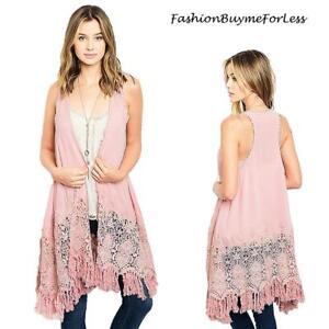 70-039-S-BOHO-Pink-Hippie-Crochet-Swing-Long-Fringed-Tassel-Open-Vest-Cardigan-S-M-L