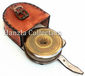 Robert-Frost-Poem-Nautical-Antique-Brass-Marine-Pocket-Compass-With-Leather-Case
