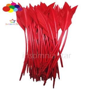 50-pcs-Fleche-Rouge-Turquie-plumes-25-30-cm-10-12-in-pour-Bijoux-A-faire-soi-meme-Carnaval