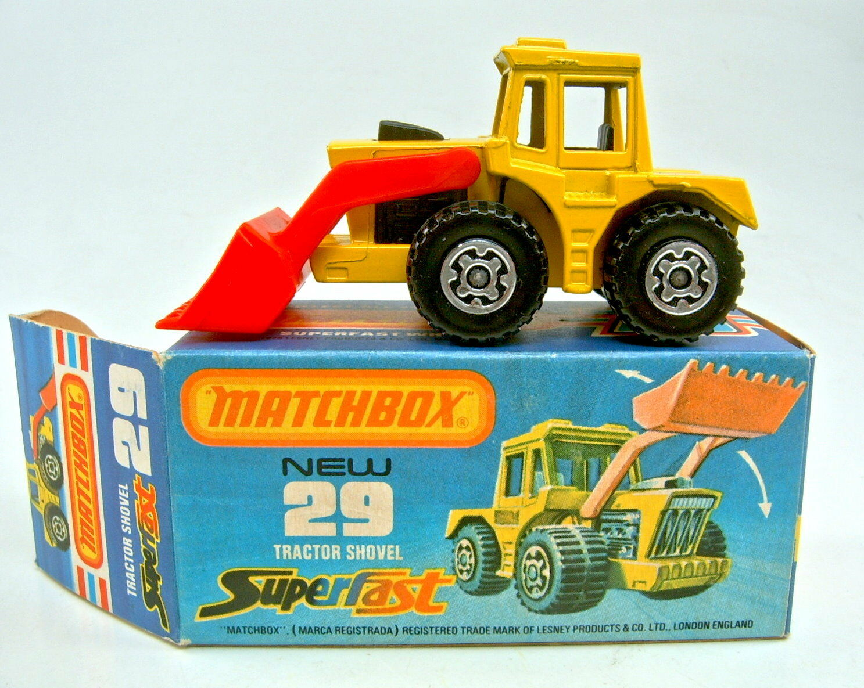 MATCHBOX SF Nº 29 C TRACTOR SHOVEL D 'Jaune Noir moteur neuf dans boîte