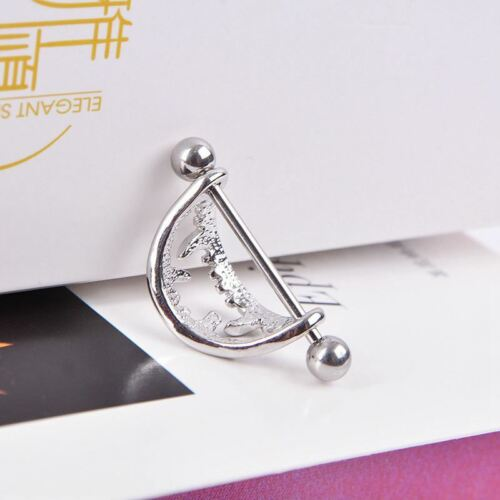 1 Paar Erstaunliche Edelstahl Love Nipple Shield Bar Ring Koerper Piercing k12l
