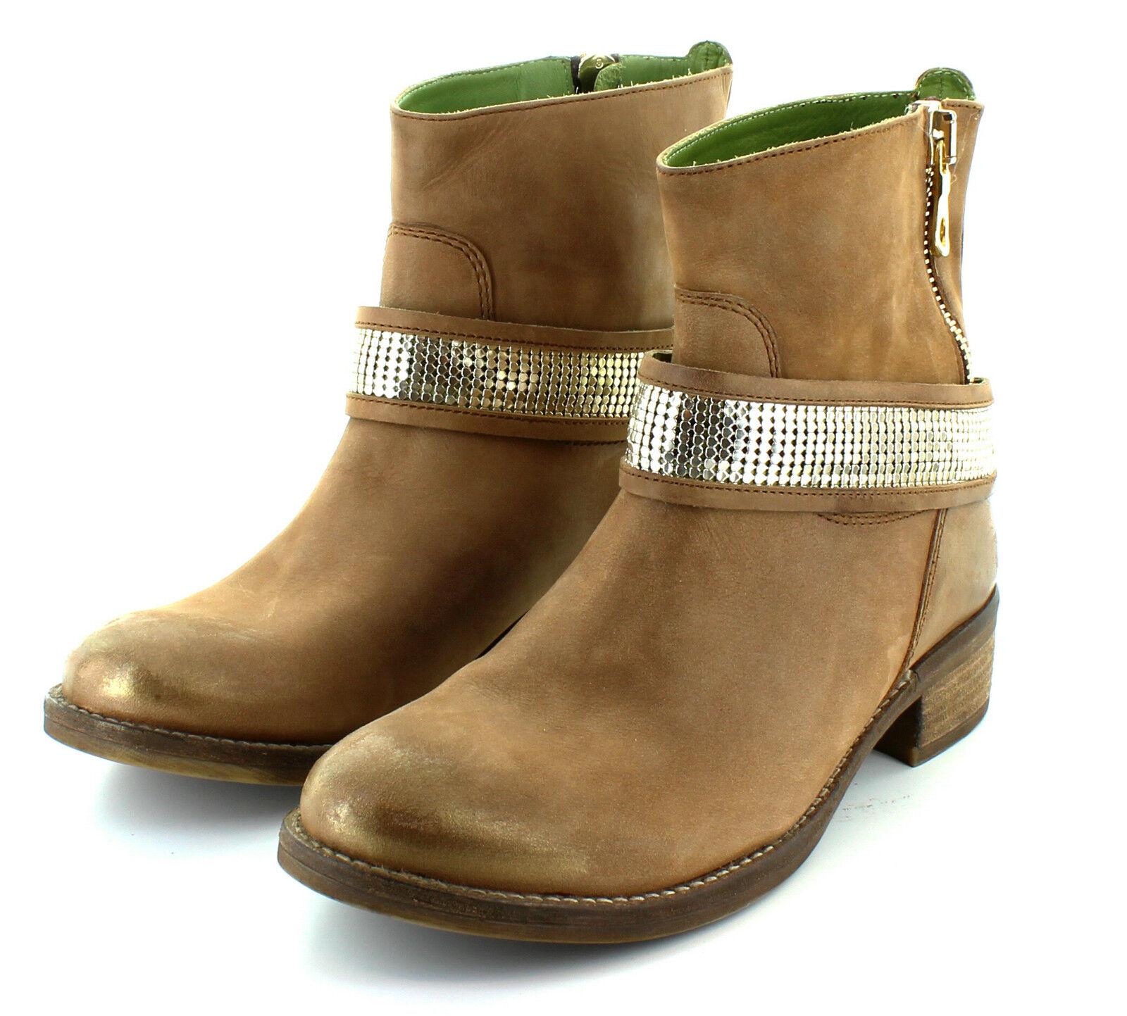 Señora botas de cuero zapatos Maruti limonce botines de cuero genuino talla 37
