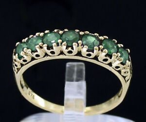 R302-Genuine-9K-10K-18K-Real-Gold-Natural-Emerald-7-stone-Eternity-Ring
