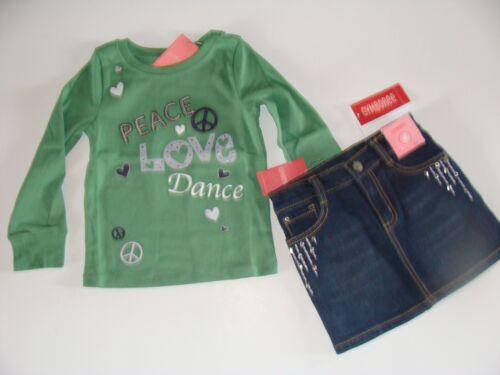 Gymboree Dance Team Girls Size 4 Denim Skirt Shirt Top Set Peace Love NWT NEW