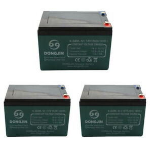 TDPRO 4pcs 6-DZM-12 12V 12Ah Rechargeable Battery for Electric Bike Scooter Go Kart