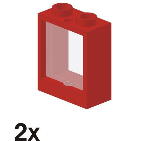 982 2 Stück NEUE Fenster mit Glas 1x2x2 rot 60592//60601