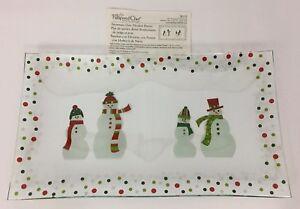 Pampered Chef Snowmen-Dots Divided Platter Rectangular Platter