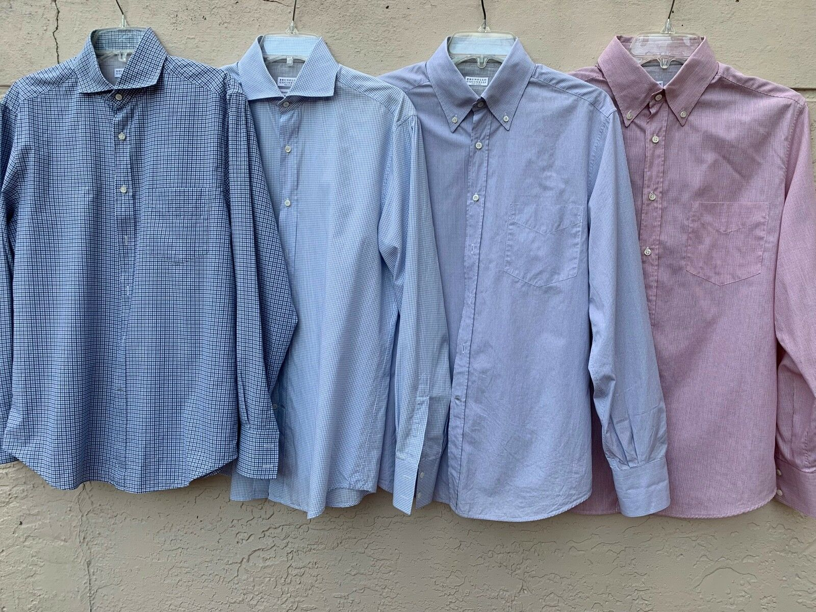 LOT OF 4 BRUNELLO CUCINELLI BESPOKE MENS BUTTON DOWN SHIRTS ITALY SZ M