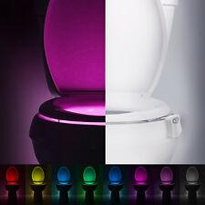 LED 8 Color Motion Activated Toilet Night Light Bowl Bathroom Lamp Sensor Light