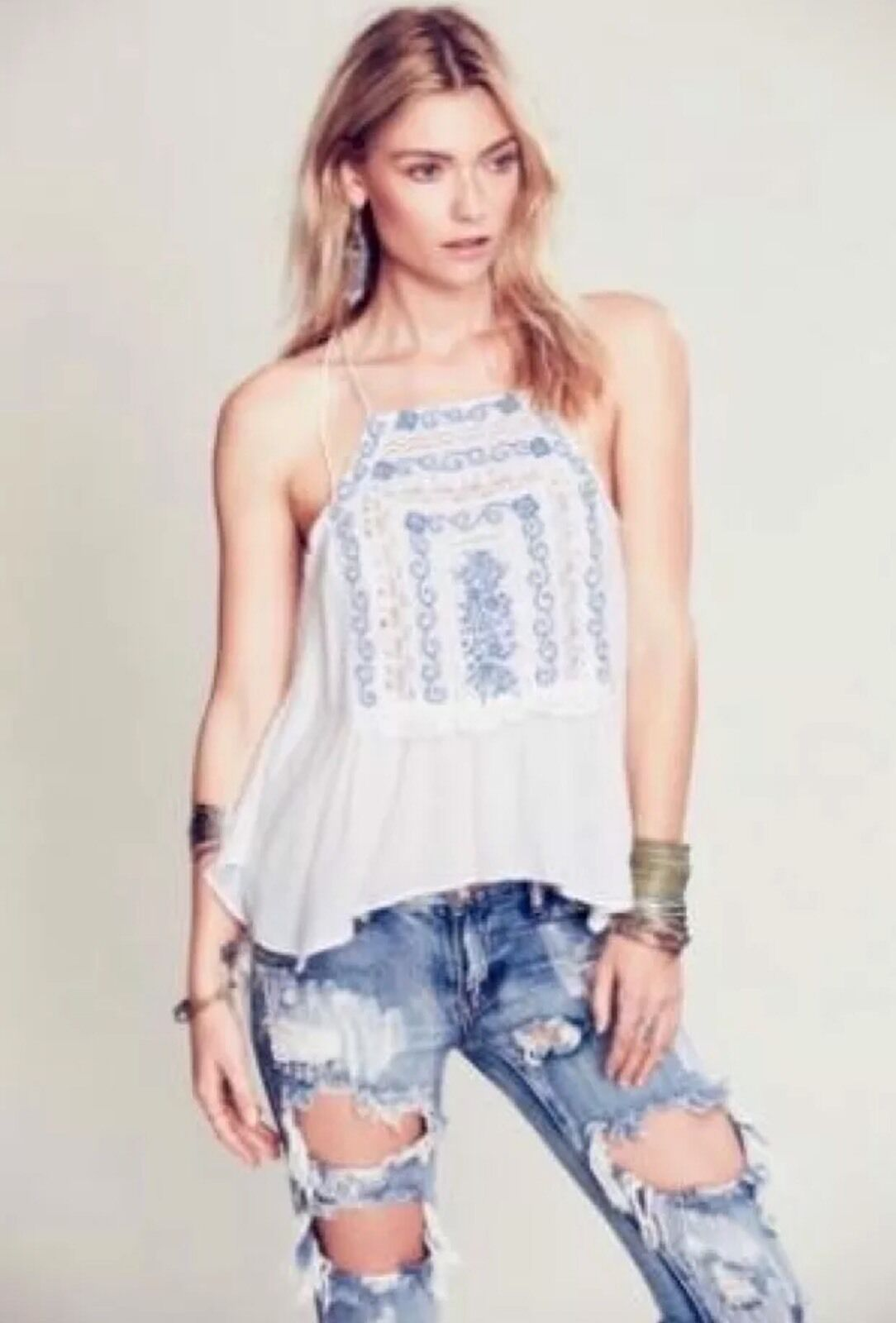 Free People Diamonds In The Sky Tank RARE NWT XS Blau Embroidery Ivory Top