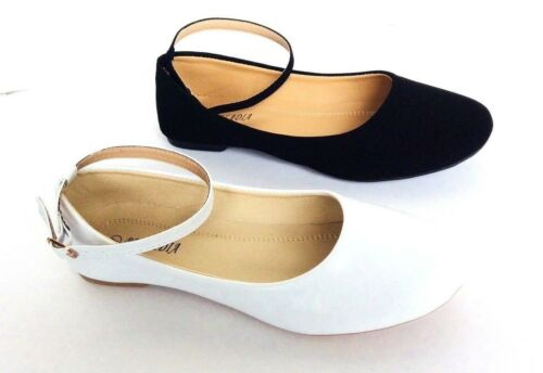 white Women/'s Classic Ballerina Flats with  ankle Strap round toe black