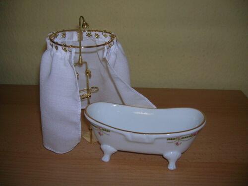 Reutter Porzellan PIATTO DOCCIA con sipario Victorian Tub SHOWER bambole Tube 1:12