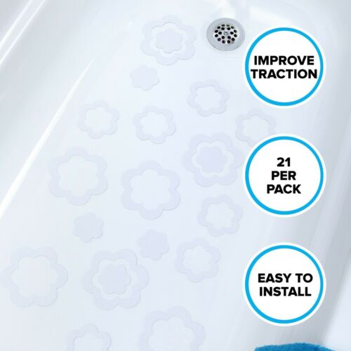 21 Per Pack Adhesive Flower Bath Treads in White by SlipX Solutions