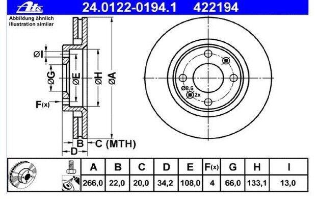 ATE Juego de 2 discos freno Antes 266mm ventilado para CITROEN PEUGEOT