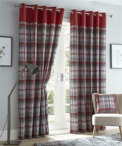 Tartan Check Eyelet Fully Lined Curtains  ideal Living room //Bedroom