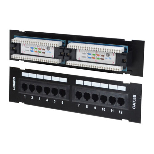 Cat5e UTP 12 Port Network mini Patch Panel 110 with surface wall mount bracket