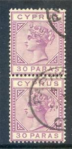 Cyprus 1882-94 Die 2 30p 'damaged US' variety used pair 4 (2017/06/12/#16)