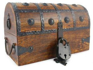 Wooden Pirate Treasure Chest Nautical Box With Antique Cove Style Lock And Key Ebay