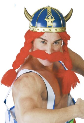 Ladies Mens Adult Blue Gold Viking Warrior Fancy Dress Costume Outfit Helmet Hat