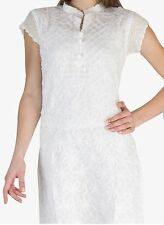 LUCKNOWI CHIKANKARI WHITE COTTON STRAIGHT KURTA/KURTI/TOP AVAILABLE ALL SIZES