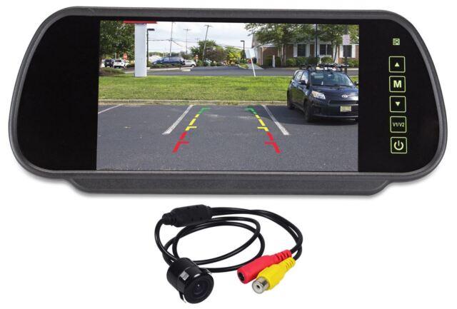 "Rockville Flush Mount Universal Backup Camera+Car Rearview Mirror w/7"" Monitor"