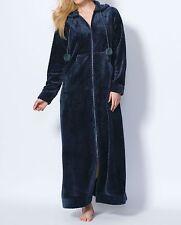 Dreams & Co. Plus Size Navy Plush Hooded Long Robe Size 5X(38/40)