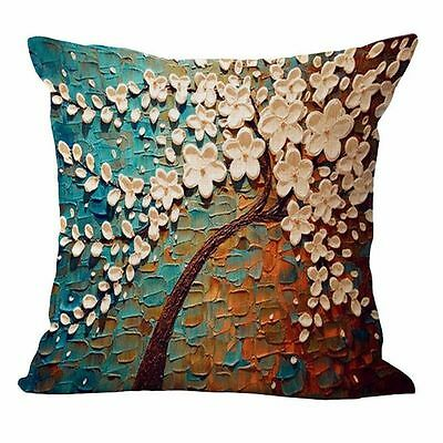 Flower Tree Linen Pillow Case Waist Back Throw Cushion Cover Home Sofa Decor