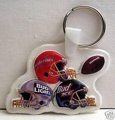 5 Budweiser Football Helmets An Busch Beer Key Chain