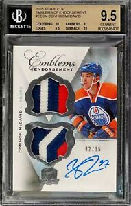2015-The-Cup-Emblems-Connor-Mcdavid-Rookie-Rc-Patch-AUTO-15-BGS-9-5-Gem