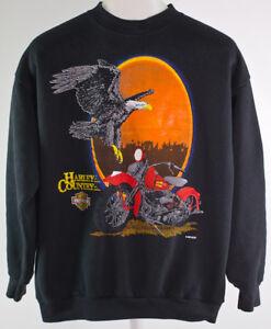 Vintage cuello Davidson Talla redondo 80s como Harley Suéter harley Country ajusta L Se M con RrE0xrwXq
