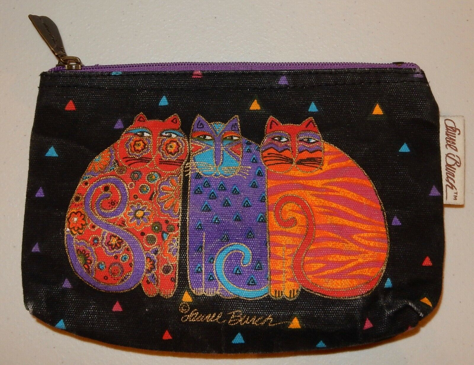 Laurel Burch Cat Tote Bag & Pouch Used - image 3