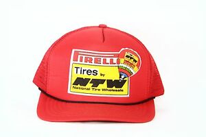 Pirelli Ntw Tires Vintage Mesh Snapback Trucker Racing Auto Hat