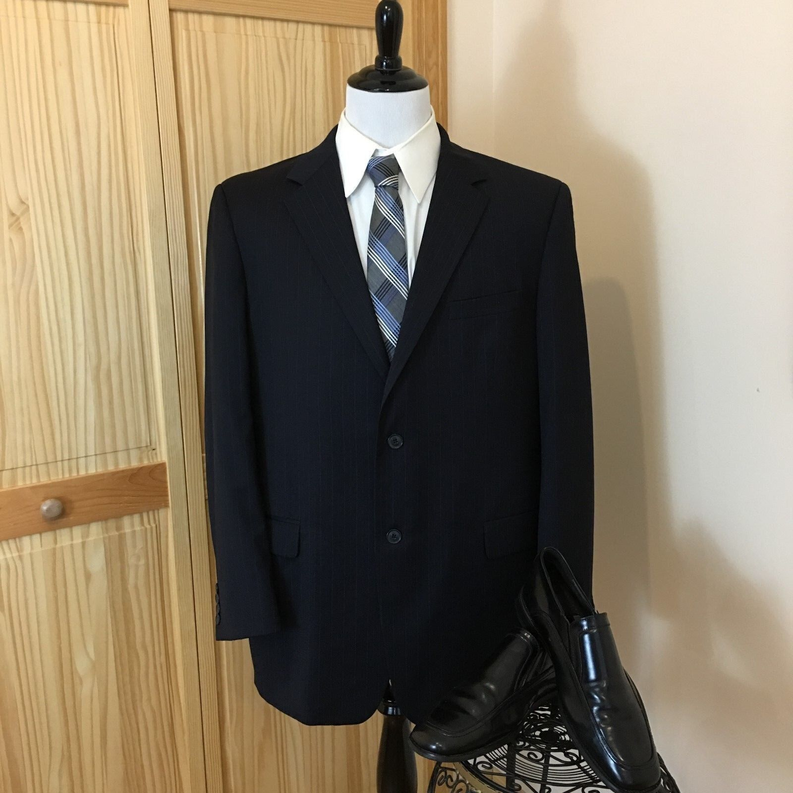 ANDREW FEZZA Men Suit Navy bluee Striped Pleaded One Vent 100% Wool 46L 40 X30.5