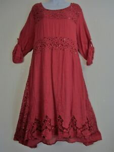 100-Coton-Lagenlook-Couches-Dentelle-Manches-3-4-robe-9-couleurs-taille-plus-16-20